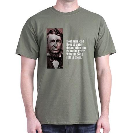 """Thoreau """"Quiet Desperation"""" Dark T-Shirt"""