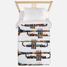 Trumpet Player Art Design by Juleez Twin Duvet