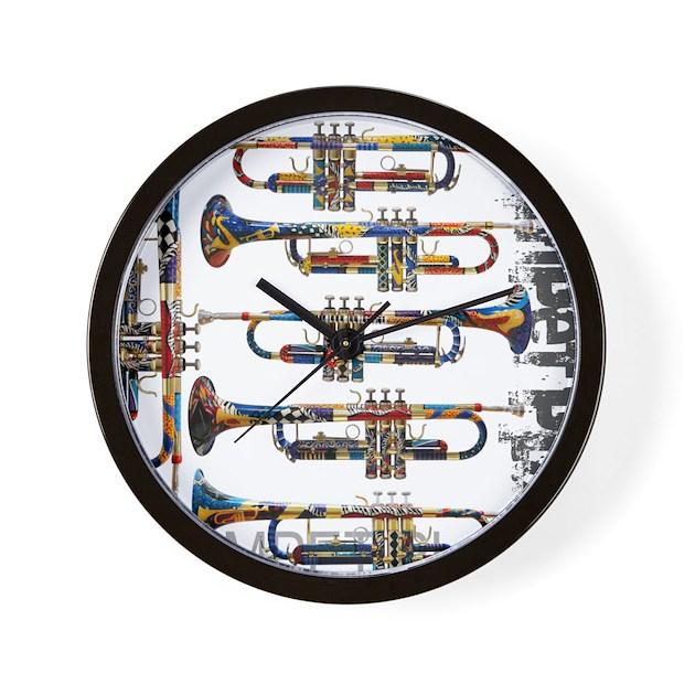 Wall Clock Art Design : Trumpet player art design by juleez wall clock