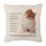 Pomeranian Mom Woven Throw Pillow