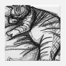 Fat Cat Sleeping Tile Coaster