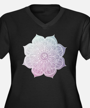 Cute Yoga Women's Plus Size V-Neck Dark T-Shirt