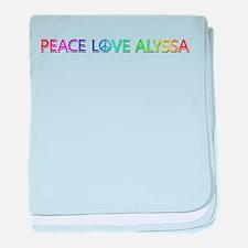 Peace Love Alyssa baby blanket