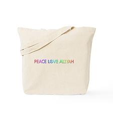 Peace Love Aliyah Tote Bag