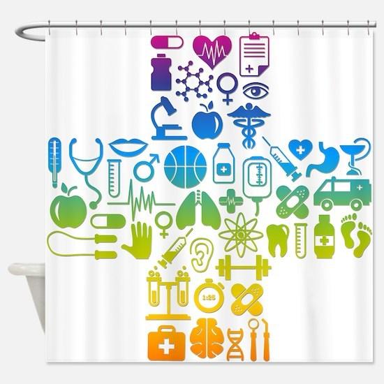 health cross Shower Curtain