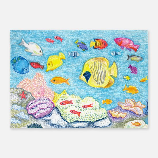 Crayon Fish 5'x7'Area Rug