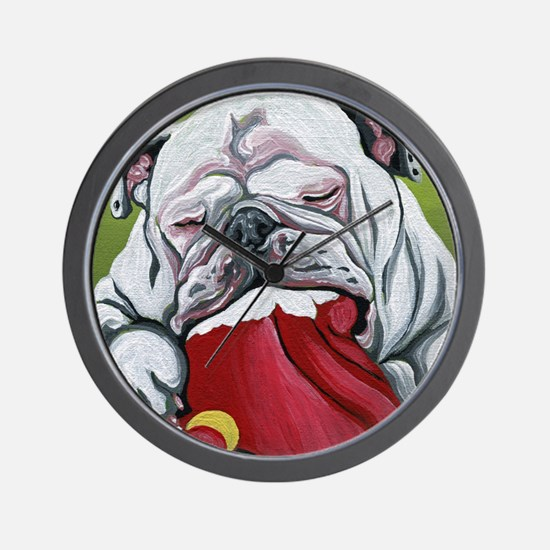 Christmas English Bulldog Wall Clock