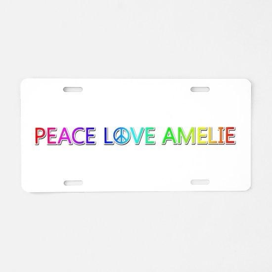 Peace Love Amelie Aluminum License Plate