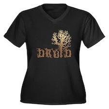 Druid Tree Women's Plus Size V-Neck Dark T-Shirt