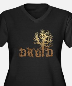 Druid Tree Women's Plus Size V-Neck Dark T-Shirt