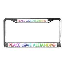 Peace Love Alejandro License Plate Frame