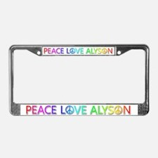 Peace Love Alyson License Plate Frame