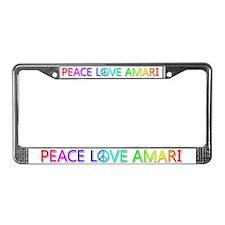 Peace Love Amari License Plate Frame