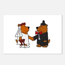 Funny Brown Bear Wedding Postcards (Package of 8)