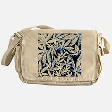 faded blue marijuana leaf Messenger Bag