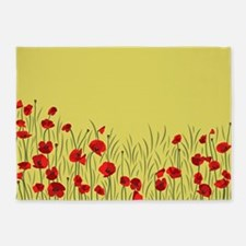 Spring poppies 5'x7'Area Rug