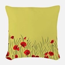 Spring poppies Woven Throw Pillow