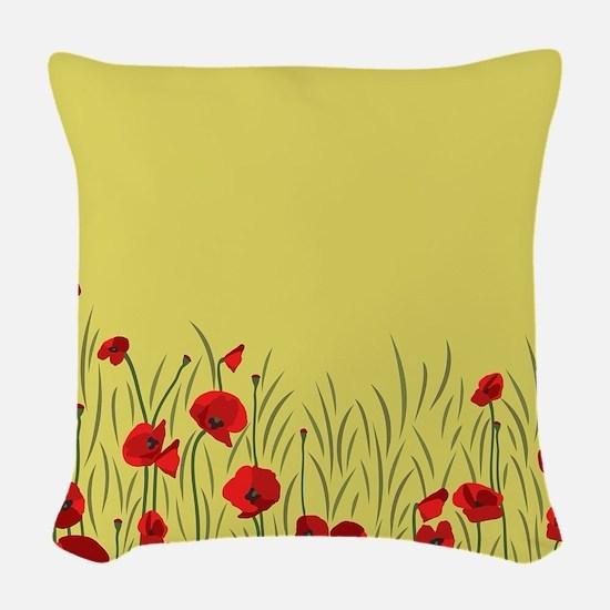 Spring poppies Woven Throw Pillow