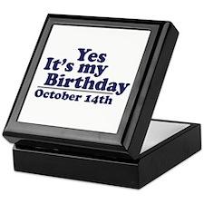 October 14th Birthday Keepsake Box