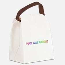 Peace Love Running Canvas Lunch Bag