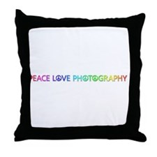 Peace Love Photography Throw Pillow