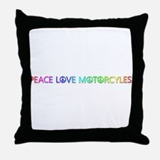 Peace Love Motorcyles Throw Pillow