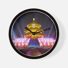 Illuminated Temple of Heaven Red China Wall Clock