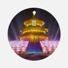 Illuminated Temple of Heaven Red Ch Round Ornament