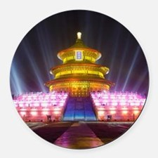 Illuminated Temple of Heaven Red Round Car Magnet