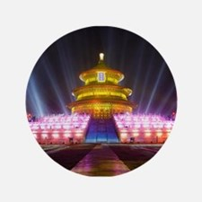 Illuminated Temple of Heaven Red China Button