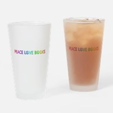 Peace Love Books Drinking Glass