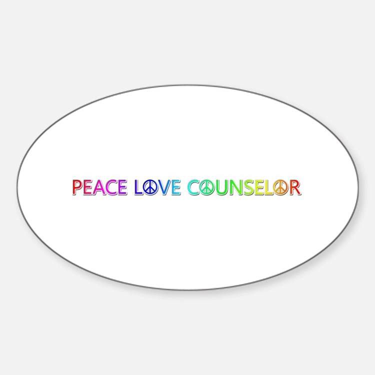 Peace Love Counselor Oval Decal