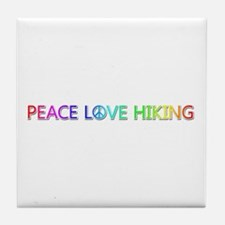 Peace Love Hiking Tile Coaster