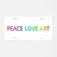 Peace Love Art Aluminum License Plate