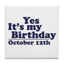 October 12th Birthday Tile Coaster