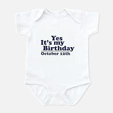 October 12th Birthday Infant Bodysuit