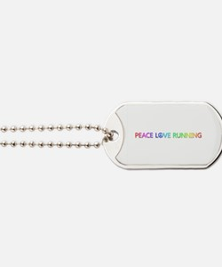 Peace Love Running Dog Tags