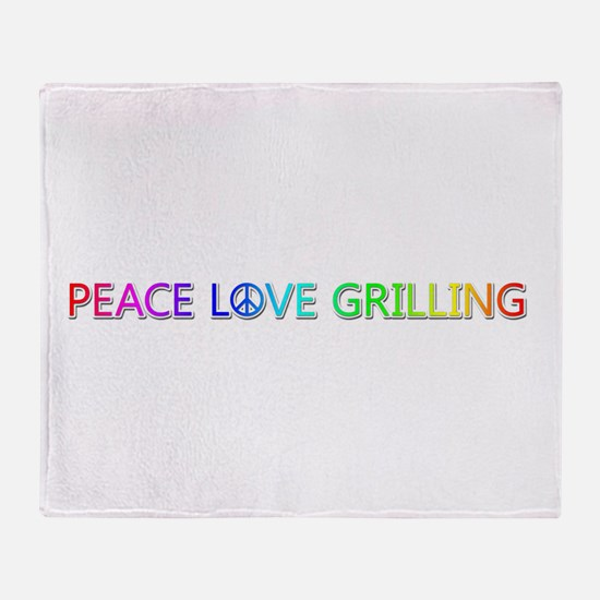 Peace Love Grilling Throw Blanket