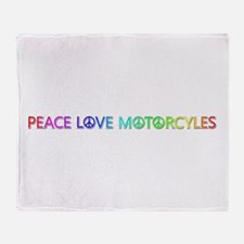 Peace Love Motorcyles Throw Blanket