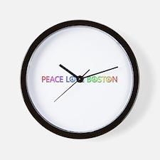 Peace Love Boston Wall Clock