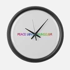 Peace Love Counselor Large Wall Clock