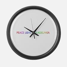 Peace Love Philadelphia Large Wall Clock