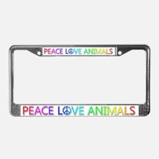 Peace Love Animals License Plate Frame