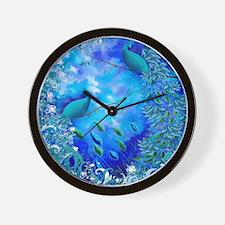 Exotic Birds Peacock Feathers Garden Bl Wall Clock