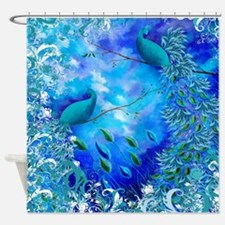 Exotic Birds Teal Blue Print Shower Curtain