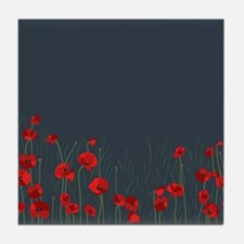 Night, poppies Tile Coaster