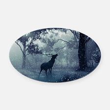 Cute Elk Oval Car Magnet