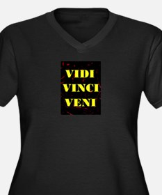 VIDI VINCI VENI Women's Plus Size V-Neck Dark T-Sh