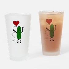 Pickle Holding Heart Balloon Drinking Glass
