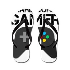 Game Console Black Joystick Flip Flops